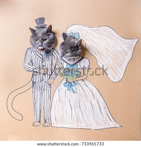 Cat wedding stock images royalty free images vectors shutterstock a cats wedding a cat in a suit and a cat in a wedding dress junglespirit Choice Image