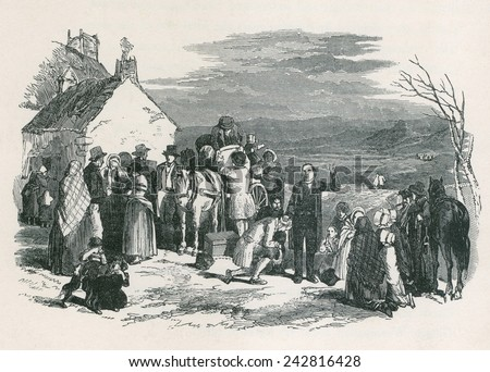 A Catholic priest blesses kneeling immigrants as they to leave their homes and families in Ireland for North America during the potato famine. Ca. 1850. - stock photo