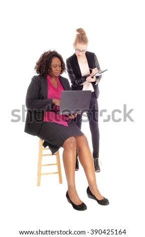 A Caucasian and African American woman working with a laptop and