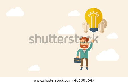 A caucasian hipster with beard carrying a briefcase with bulb as balloon to take him fly high. Happy and success concept. A contemporary style with pastel palette, beige tinted background with