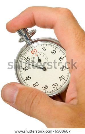 A caucasian mail hand holding a stopwatch on a white background