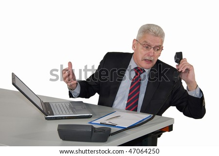 a caucasian senior manager being kicked via telephone, isolated on white background
