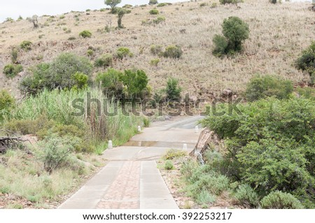 A causeway on a road in the Mountain Zebra National Park near Cradock in South Africa