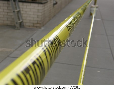 a caution tape sign - stock photo