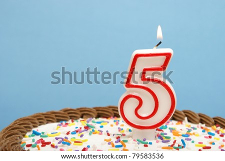 A celebration of the fifth year either for a birthday, business or other event. - stock photo