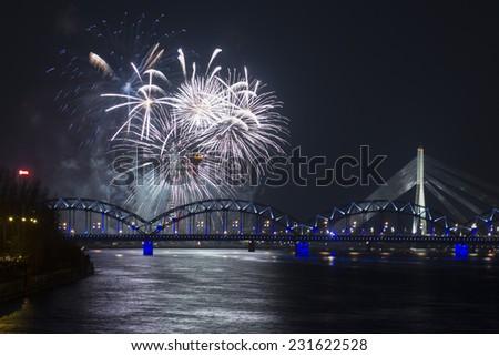 A Celebratory salute in Riga, Latvia - stock photo