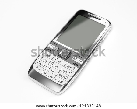 A cell phone on white background - stock photo