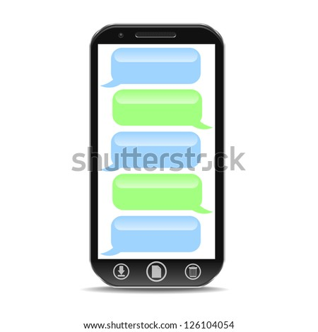 a cellphone with speach bubble - stock photo