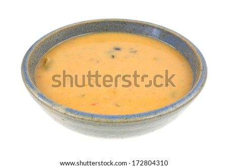 A ceramic bowl of a creamy chicken and tomato soup with a  smooth blend of cheese and seasonings.  - stock photo
