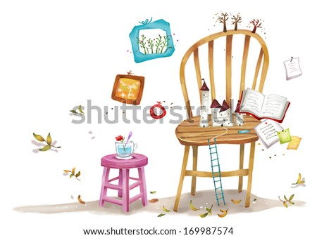 A chair and stool with various objects sitting on them.