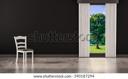 A chair on concrete polished floor with window and a tree natural view on black wall, 3d rendered - stock photo