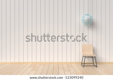 A chair with wooden wall and lamp,3D render