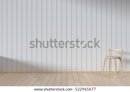 A chair with wooden wall,3D render