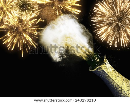 A Champagne bottle and cork with lit firework - stock photo