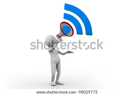 A character announcing new through Rss sign - stock photo