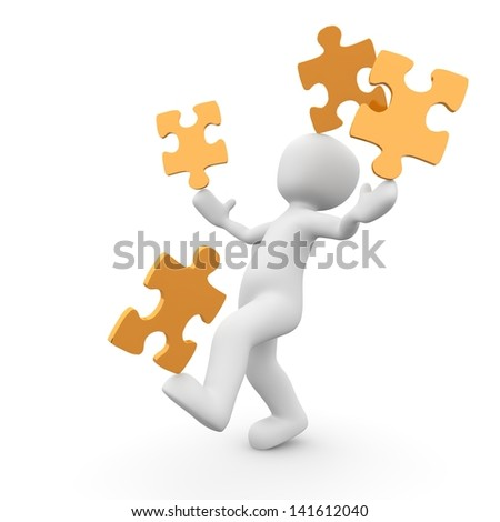 A character balances the puzzle pieces on hands, foot and head simultaneously. - stock photo