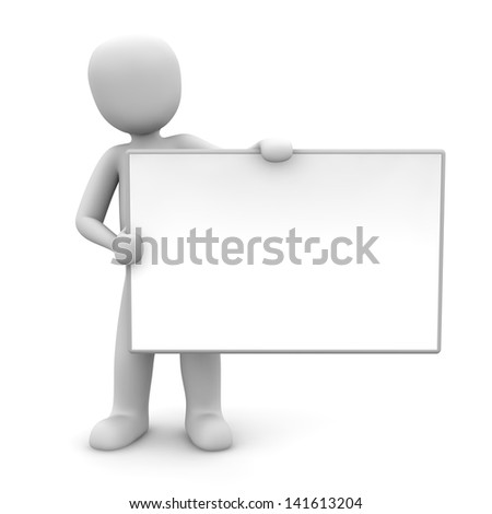 A character holding a white board in his hands.