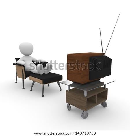 A character is sitting on the armchair and watch TV.