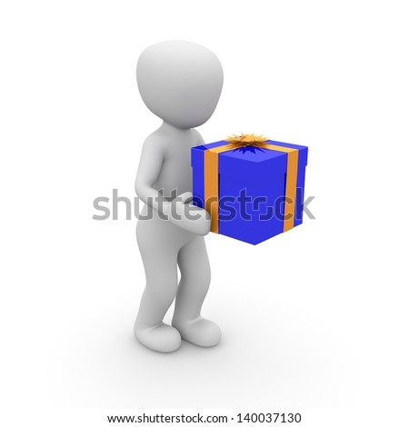 A character is traveling with a gift for a birthday. - stock photo