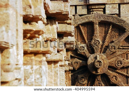 A chariot wheel of the Sun Temple - stock photo