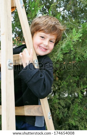 A charming four year old boy climbed a wooden extension ladders in the garden