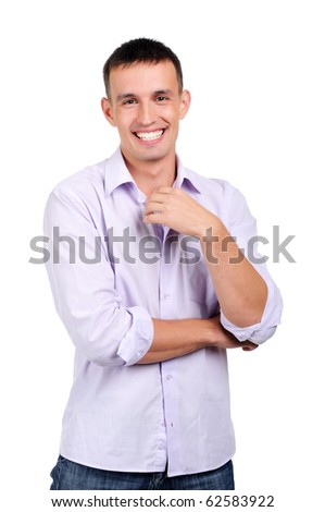 A charming young man in jeans and a light shirt isolated on white background