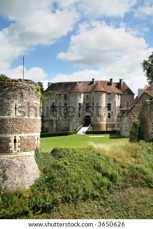A Chateau in Normandy France, viewed from its ancient Fortifications