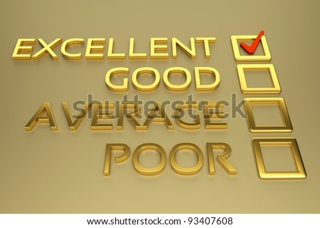 a checklist with excellent mark, gold check boxes - stock photo