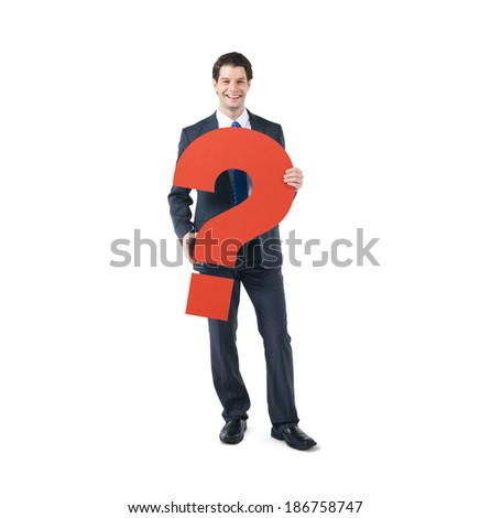 A Cheerful Business Man Holding a Question Mark