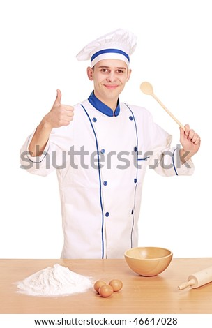A cheerful chef preparing to cook with thumbs up isolated on white background