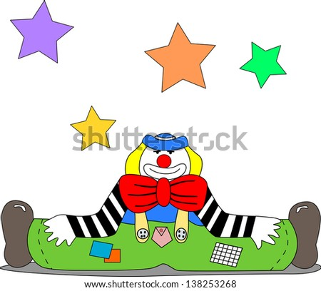 A cheerful clown sits on the ground with open legs; there are stars hanging in the air.