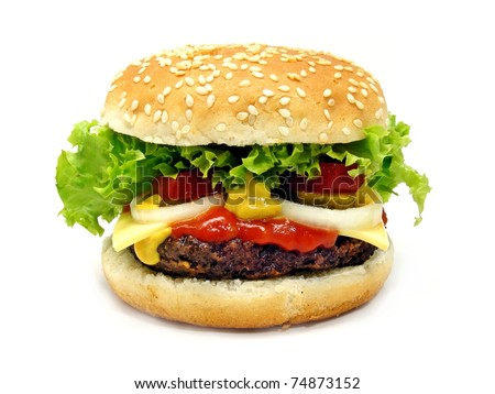 A cheeseburger isolated on a white background - stock photo
