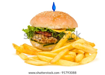 a cheeseburger with deep fried potatoes, closeup - stock photo