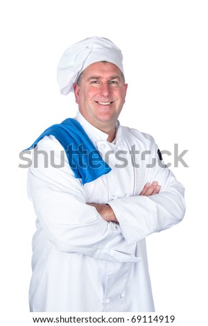 A chef posing with his arms crossed isolated on white. - stock photo