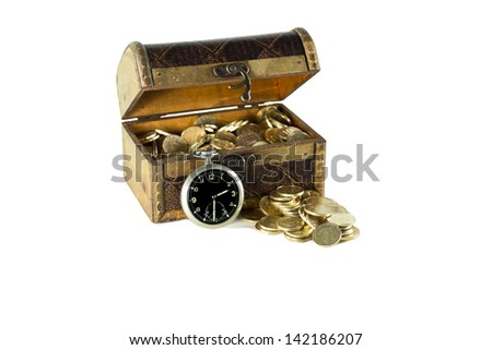 A chest full of gold coins round-the-clock cover is open next to the box of money