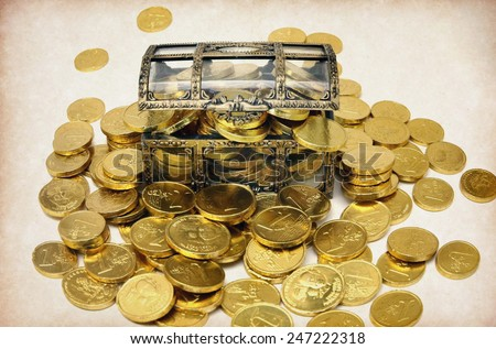 a chest of money  - stock photo