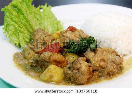 A chicken curry rice with garnishing serve on a plate. - stock photo
