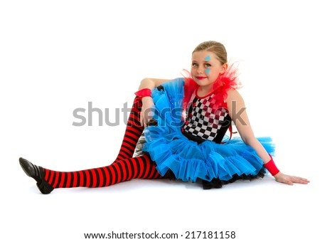 A Child Dance Performer Dressed in Circus Clown Costume - stock photo