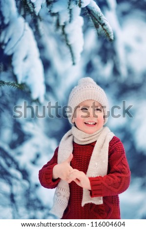 A child in a red sweater and a light cap. The boy on the nature. Lots of snow. Winter forest.