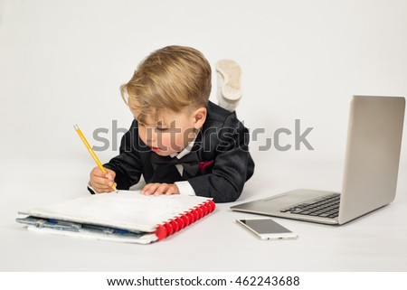 Child role office manager laptop phone stock photo - What is the role of an office manager ...