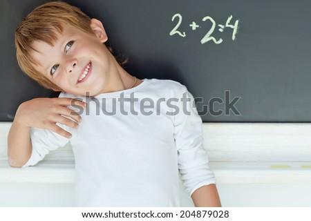 A child learns mathematics - stock photo