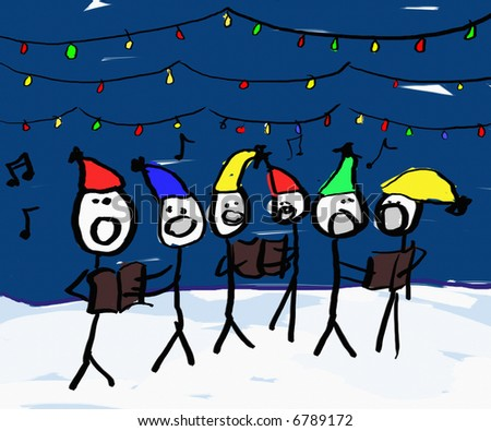 A child like drawing of a group of christmas carolers with lights - stock photo