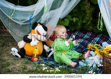 A child on a picnic
