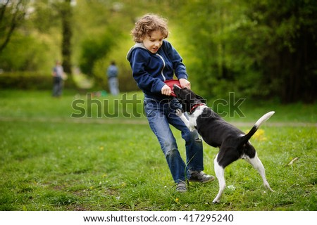 A child playing with a black and white dog and trying to take away disk from the dog. - stock photo
