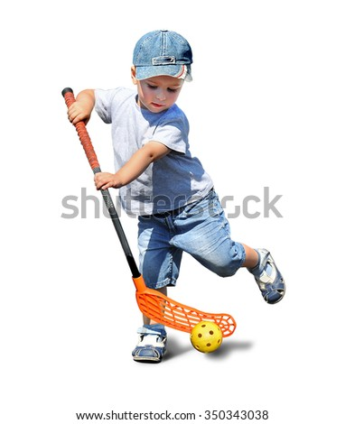 A child plays floorball.Stick and ball games in floorball.The  image on a white background - stock photo
