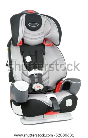 A child's car seat isolated on a white background.