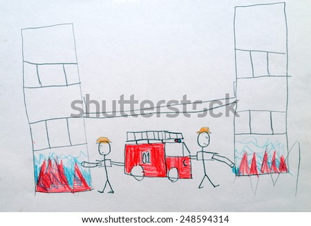 a child's drawing Fire - stock photo