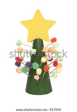 A child's gumdrop and marshmallow Christmas tree.