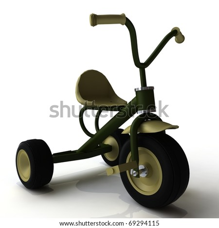 A child's tricycle on a white background