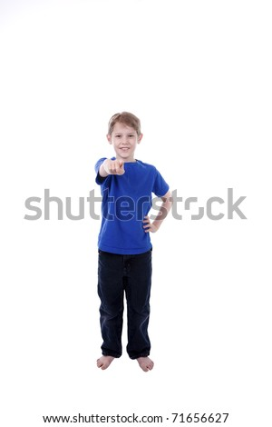 A child signs You in American Sign Language - stock photo